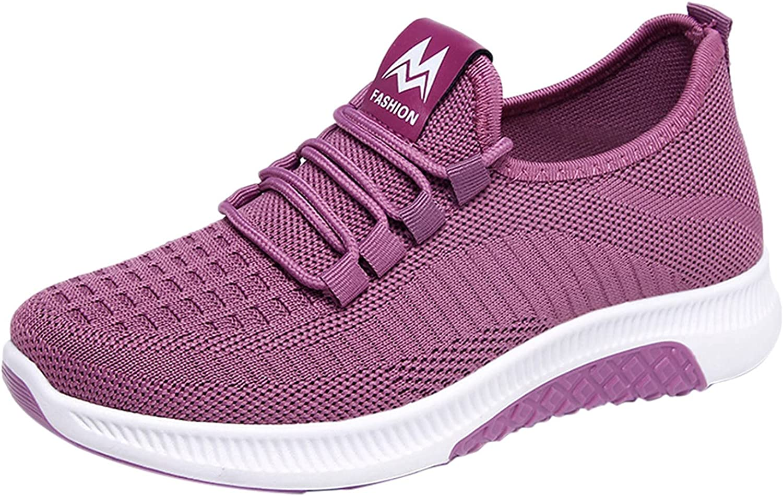 ZiSUGP Nursing Shoes for Women Flying Woven Sports Shoes Women's Shoes Light Lace Running Shoes