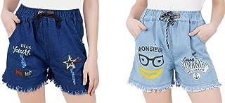 WILFREDO Dark Blue DAER Youth & Light Blue Summer Rough Look Denim Shorts for Women's (Pack of 2)