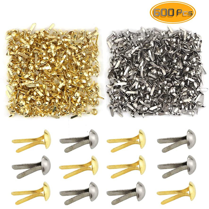 Yexpress 600 Pieces 4.5 x 8mm Gold & Silver Mini Brads Round Paper Fasteners Brass Pastel Metal Brads for Scrapbooking Crafts DIY Paper