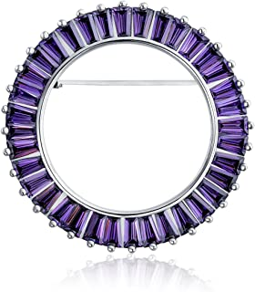 Bling Jewelry Viola Simulato Ametismo AAA c'è Baguette Rotondo Eternity Open Circle Sciarpa Spilla Pin per Donne Sposa Arg...
