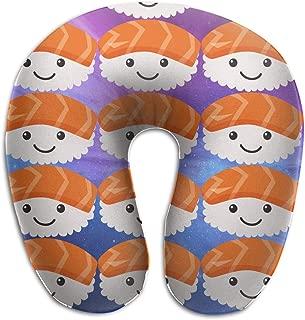 KIENGG Sushi Sashimi Art Salmon Memory Foam U-Shaped Pillow,Unique Travel Rest Pillow for Neck Pain,Breathable Soft Comfortable Adjustable