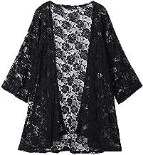 Willow S Women Fashion Casual Chiffon Shawl Floral Print 3/4Sleeve Kimono Cardigan Top Cover Up Loose Blouse Beachwear