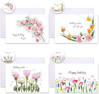 Whaline 12 Pack Birthday Card with Envelope and Sticker 4 Floral Designs Birthday Greeting Card Flower Happy Birthday Blan...