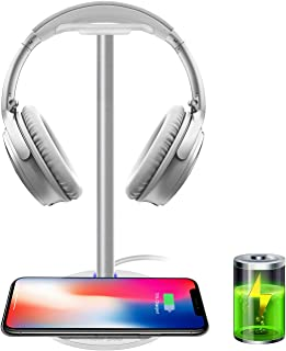 Wireless Charging with Headphone Stand New Bee Sturdy 2-in-1 Headset Holder & Wireless Charger Pad for iPhone 8/8 Plus/X S...