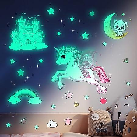 Licorne Étoile Lumineuse Plafond Stickers Muraux-Étoile Fluorescente,Arc en Ciel Décoration Chambre Enfant et Fille