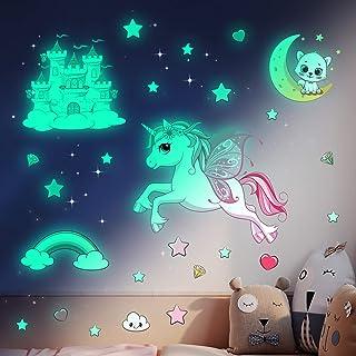 Lichtgevende sterren zelfklevende muursticker kinderkamer meisjes eenhoorn muursticker sterrenhemel sticker prinses slotst...