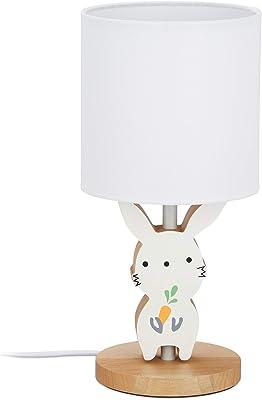 relaxdays 10028046 chevet, chambre d'enfants, abat-jour en tissu, lampe de table lapin 36x 17cm,blanc, bois, lin, fer, 36 x 17 x 17 cm