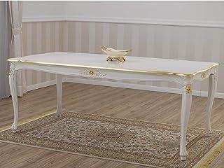 SIMONE GUARRACINO LUXURY DESIGN Table à Manger Allison Style Baroque Décapé rectangulaire Ivoire et Feuille Or 165 x 85 cm