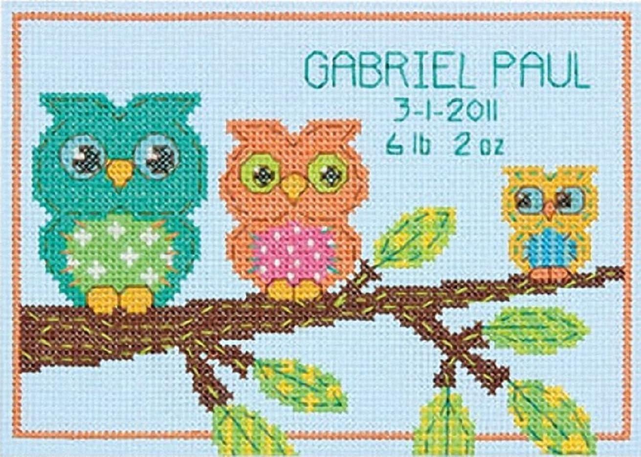 "Dimensions Owl Mini Birth Record Counted Cross Stitch Kit, 7"" x 5"""