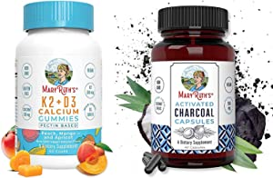 Vitamin K2+D3 Gummies & Activated Charcoal Bundle by MaryRuth's   K2+D3 Calcium Gummies for Adults & Kids, 60ct   Activated Charcoal Capsules from Organic Coconut Shell, 40ct   Vegan, Non-GMO