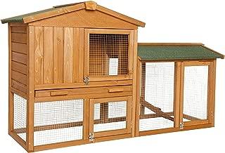 Dibea RH10240Premium (147x 52x 85cm), Large Rabbit Hutch 2Floors Log Cabin, with 3Doors for Rabbits Guinea Pigs