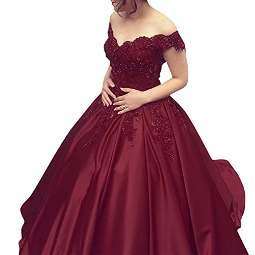 f2002320a77 Angela Off Shoulder Lace Prom Dresses Tulle Long Puffy Quinceanera Dresses  Ball Gown AN035