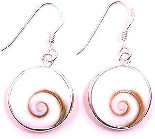 Boucles d/'oreilles Œil De Sainte Lucie Shiva Eye Argent 925 earrings clou coquil