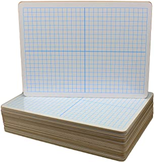 Flipside Products Dry Erase XY Axis Dry Erase Two Sided Board - Set of 24, White with Blue Grid (12000)