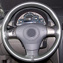 product image for Wheelskins WS10219XX Genuine Leather Charcoal Size AXX Steering Wheel Cover