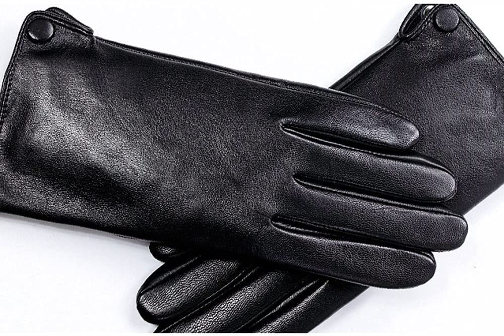 UimimiU Men's Goatskin Gloves Spring and Autumn 100% Full Leather Thin Unlined Touch Screen Gloves Driving Driver's Gloves Single Leather Straight Paragraph Mitten (Color : Black, Size : 24cm)
