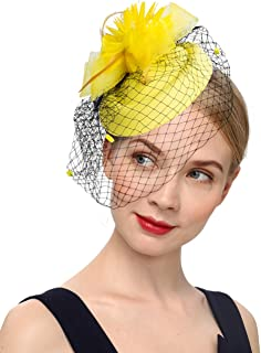 K.CLASSIC Fascinator Hair Clip Pillbox Hat Bowler Feather Flower Veil Wedding Party Hat