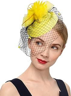 Cizoe K.Classic Fascinator Hair Clip Pillbox Hat Bowler Feather Flower Veil Wedding Party Hat