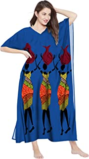 RADANYA Womens Cotton Long African Print Beach Swim Cover Up Caftan