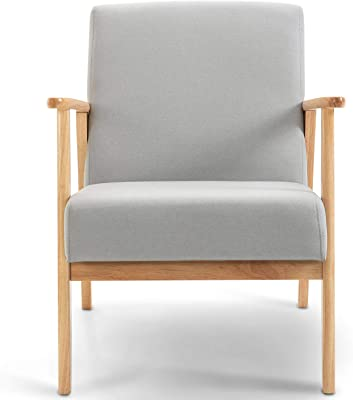 TIANSHU ソファ 1人掛け 天然木 ラバー木、四季適用 ミッドセンチュリーモダンファブリックアームチェア クラシックなフレンチスタイルと組み合わせて、あらゆる種類の装飾スタイルに適しています(1人掛,ライトグレー)