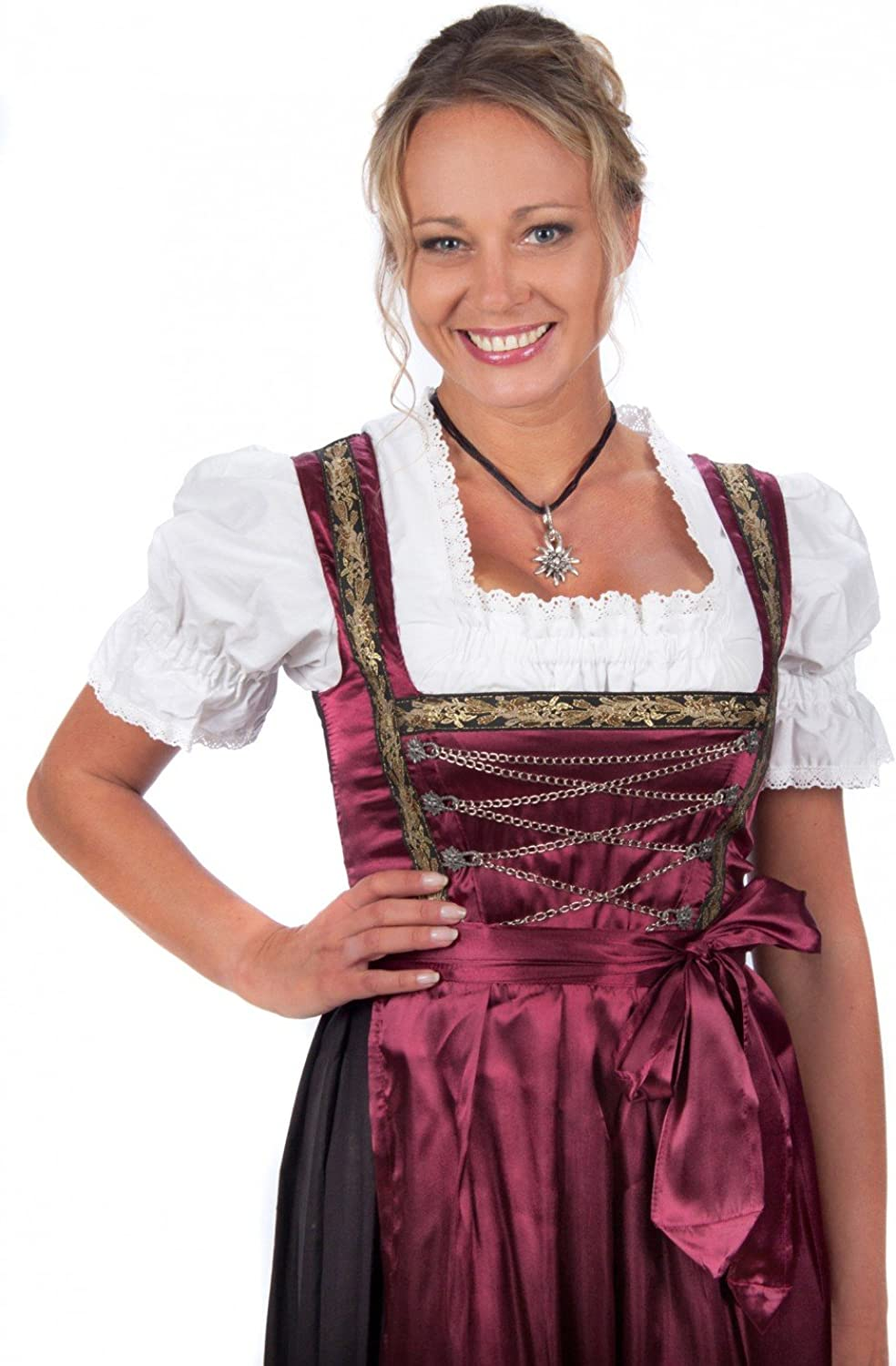 Bavarian Women's Midi Dirndl dress 3pieces with apron and blouse black red