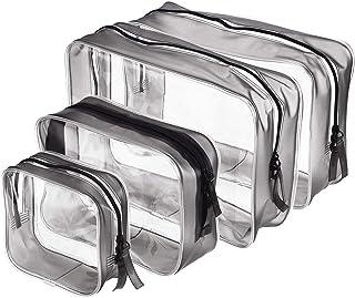 Klara väskor för smink 4 delar PVC toalettväska med dragkedja för män och kvinnor för semester, badrum och organisering