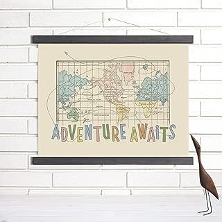 World Map Pull Down Wall Art Adventure Awaits | Wendy Gold
