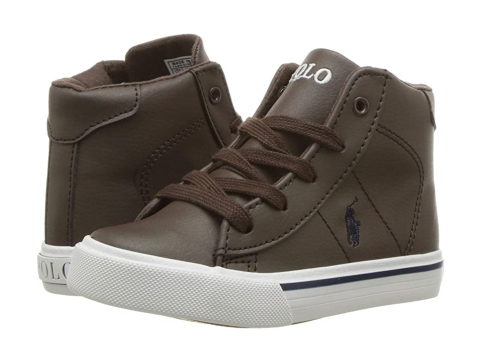 Polo Ralph Lauren Kids Easten Mid (Toddler) (Chocolate Tumbled/Navy Pony) Boy