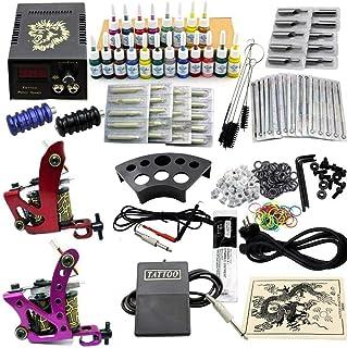 Complete set met 2 tattoomachines + 20 inkten kleuren + 50 naalden, tattoomachine tatoeage complete set tattoo-machineset