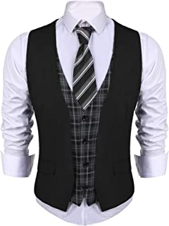 Men's Business Suit Vest layered Plaid Dress Waistcoat for Wedding, Date, Dinner