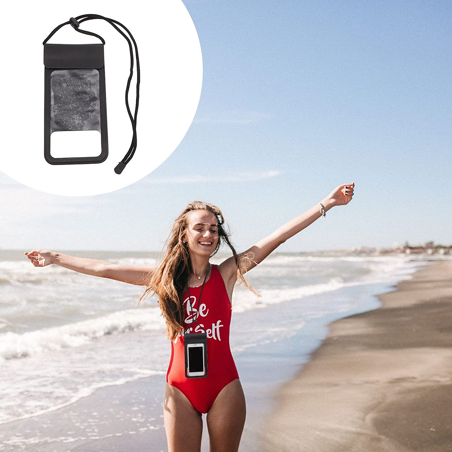 ifundom Waterproof Phone Pouch Cellphone Dry Bag Swimming Phone Holder for Kayak Travel Boating Fishing Hiking with Lanyard Black