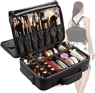 VASKER 3 Layers Waterproof Makeup Bag Travel Cosmetic Case Professional Portable Makeup Train Cases Organizer Brush Holder with Adjustable Divider Black
