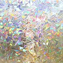 Rabbitgoo 3D Decorative Window Film, Non-Adhesive Privacy Films - Window Frosting Films for Glass Doors, Static Cling Window Sticker with Rainbow Effect, Irregular Patterns, 35.4 x 70.8 inches