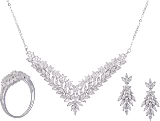 Azaleas Ring and Earring and Necklace Jewelry Set Inlaid Zircon for Women
