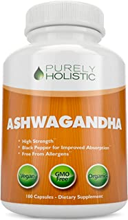 Ashwagandha Capsules, 180 Organic Ashwagandha Root Powder Extract of Black Pepper Vegan, 3 Month's Supply of Ashwagandha Organic Capsules, Ashwagandha Root Capsules, Anxiety Relief, Adrenal Support