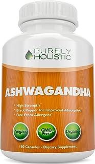 Ashwagandha Capsules, 180 Organic Ashwagandha Root Powder Extract of Black Pepper Vegan, 3 Month's Supply of Ashwagandha O...