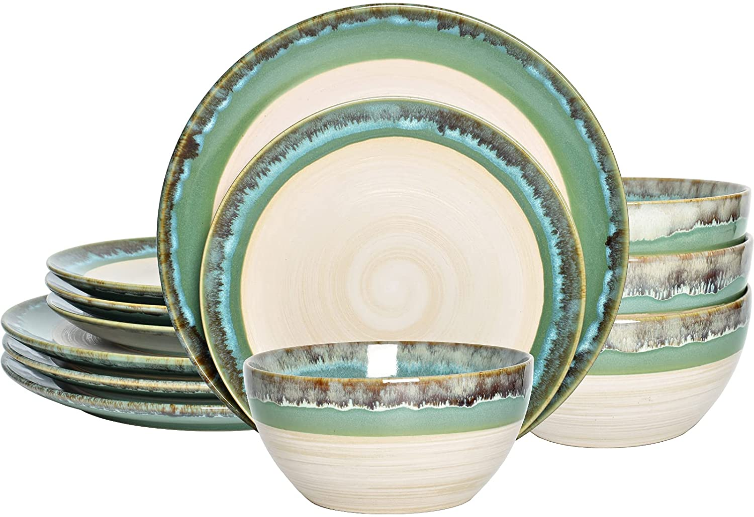 Bosmarlin Courier shipping free shipping Stoneware Dinnerware Set Max 51% OFF Bowls Ceramic and Plates