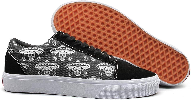 Winging Women Mexican Skull Mustache Skull in Sombrero Beautiful Suede Casual shoes Old Skool Sneakers