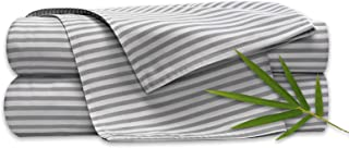 "Pure Bamboo Sheets - Queen Size Bed Sheets 4-pc Set - 100% Organic Bamboo - Incredibly Soft - Fits Up to 16"" Mattress - 1 Fitted Sheet, 1 Flat Sheet, 2 Pillowcases (Queen, Stripes)"