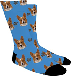 Dog Face Socks Custom Pup Photo Socks Customize Face On Socks Crew Length Gift For Men Women
