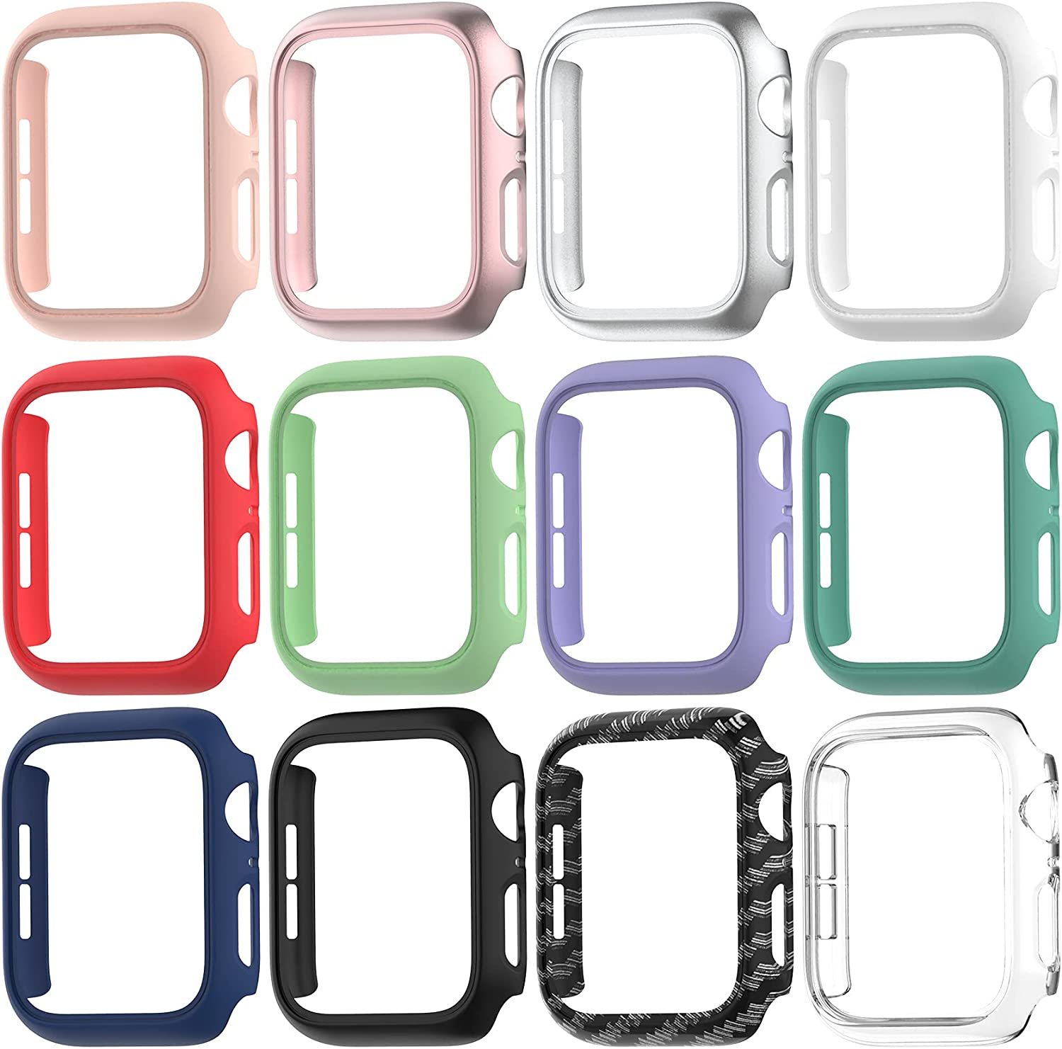 12 Pack Matte Case Compatible with Apple Watch 44mm SE Series 6/5/ 4, Fvlerz Hard PC Bumper Frame [No Screen Protector] Shockproof Cover All-Around Protective iWatch Accessories
