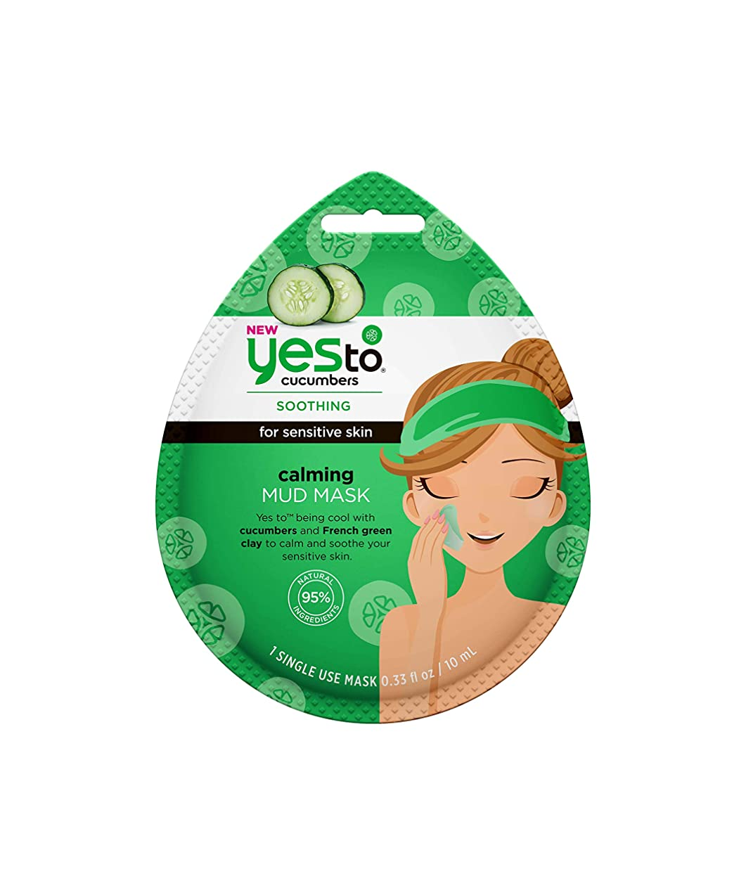 Yes To Cucumbers Calming Mud Face Mask for Sensitive Skin | Single Use Clay Facial Mask / 0.33oz