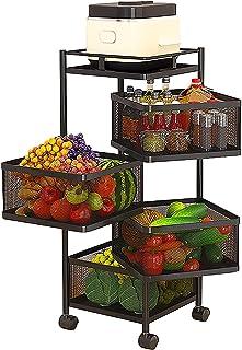 Carrosserie Carrosser Rack Porte-légumes Étagère de stockage de cuisine multicouche, Chariot roulant à 5 niveaux, Bac d'or...