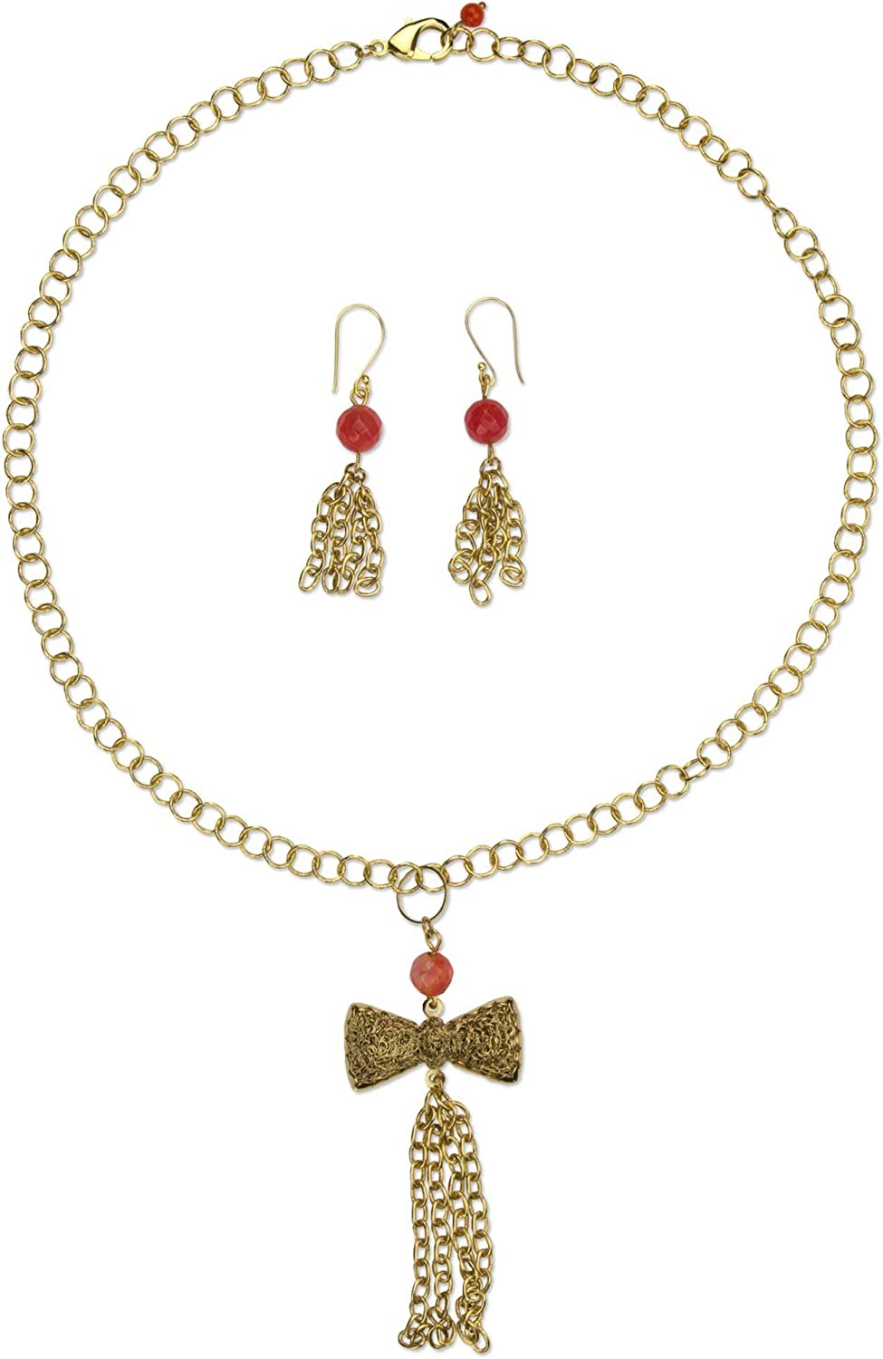 NOVICA Agate 18k Gold Plated Jewelry Set, All Dressed Up'