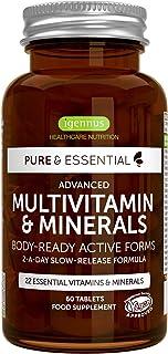 Pure & Essential Complejo Multivitamínico Completo. multivitaminas y minerales en forma activa. con hierro. zinc. vitaminas B. K2 & D3. vegano. 60 comprimidos