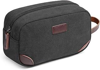 Men's Travel Toiletry Organizer Bag Canvas Shaving Dopp Kit (Black)