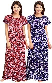 YUKATA Womens Cotton Printed Nighty, Free Size(2PCSCOMBO)