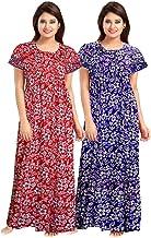 YUKATA Women's Cotton Printed Nighty (YT _001, Multicolour, Free Size) -2 Pieces Combo