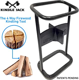 EasyGoProducts Jack Axe Wedge Firewood Kindling Tool Cuts 4 Ways – Wood Log Cracker Splitter-Patent Pending