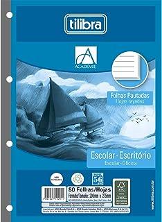 Refil Tiliflex para Caderno Argolado Universitário Pautado, Tilibra, Académie, 232092, 20x27.5cm, Branca, 80 Folhas